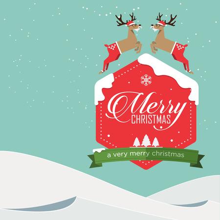 reno: Insignia de la Feliz Navidad y reno saltando en diseño plano con el paisaje de invierno. Ilustración del vector. Vectores