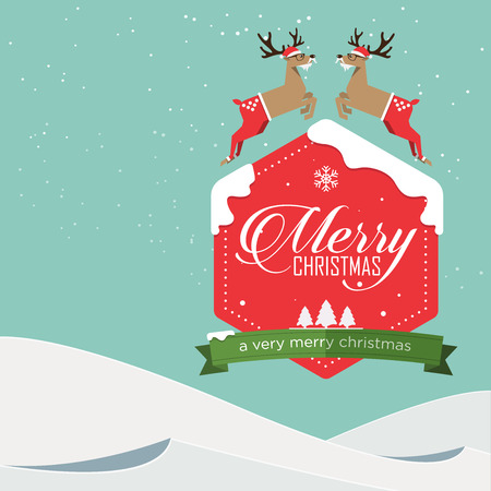 Merry Christmas Badge and Reindeer jumping in flat design with winter landscape. Vector Illustration.