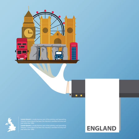 Flat icons design of United Kingdom landmarks. Global travel infographic . Vector Illustration.