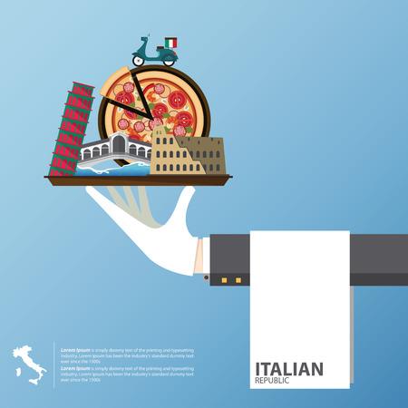 rialto: Flat icons design of Italy landmarks. Global travel infographic . Vector Illustration. Illustration
