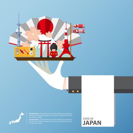 japon: Japan landmark global travel infographic in flat design. Vector Illustration.