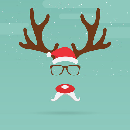flat nose: Christmas reindeer with red nose template in flat design Vector Illustration.