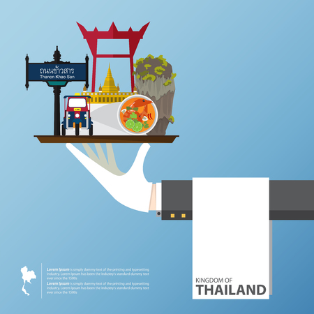 thailand temple: Thailand landmark global travel infographic in flat design. Vector Illustration. Illustration