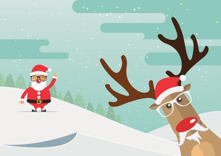 Christmas reindeer red nose with winter landscape. Vector Illustration.