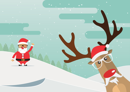 Christmas reindeer red nose with winter landscape. Vector Illustration.