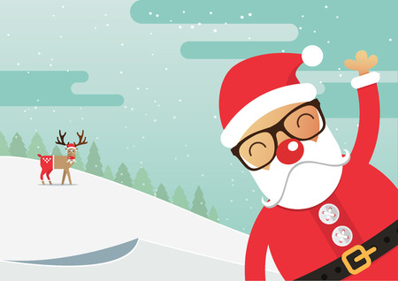 nose: Santa Claus red nose with winter landscape. Christmas holiday. Vector Illustration.