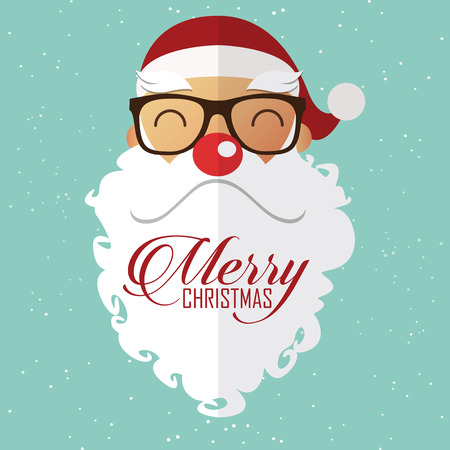 eyeglass: Happy santa claus red nose in Christmas scene. Greeting card. Vector Illustration