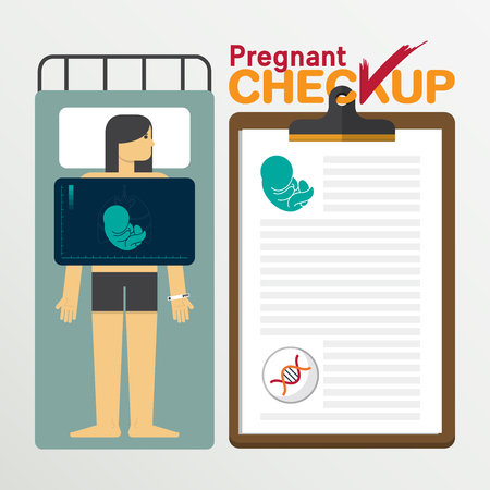 checkup: Pregnant infographic in flat design. Medical checkup clipboard. Vector Illustration.