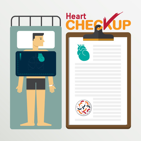 medical checkup: Heart infographic in flat design. Medical checkup clipboard.Vector Illustration.