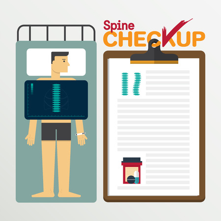 spines: Spines infographic in flat design. Medical checkup clipboard. Vector Illustration. Illustration