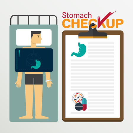 flat stomach: Stomach infographic in flat design. Medical checkup clipboard. Vector Illustration.