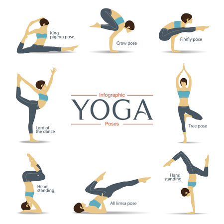 Set of yoga poses in flat design . Yoga infographics. Vector Illustration.  イラスト・ベクター素材