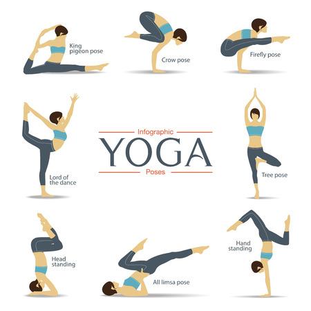 Set of yoga poses in flat design . Yoga infographics. Vector Illustration. 일러스트
