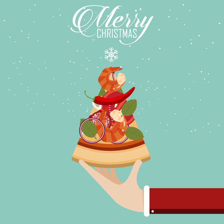 Merry Christmas Party. Pizza in christmas tree shape. Vector Illustration Vectores