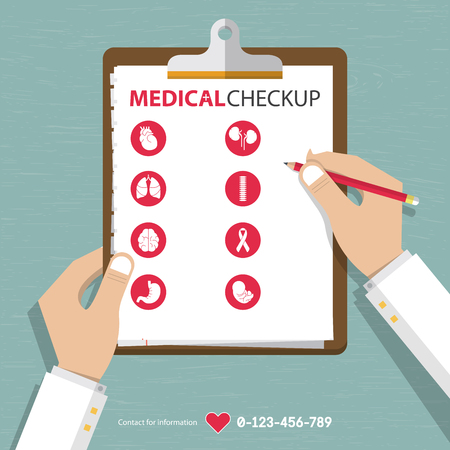 doctor clipboard: infographics of medical checkup report data in flat design. Vector Illustration