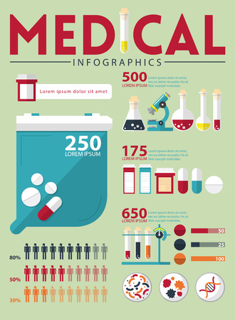 dna test: Medical infographic in flat design. Vector Illustration