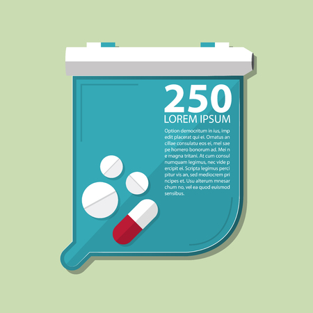 medical exam: Pill counting tray in flat design. Vector Illustration