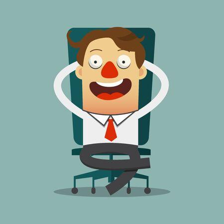 silla: El hombre de negocios se relaja en su silla en dise�o plano, personaje de dibujos animados. Ilustraci�n del vector. Vectores