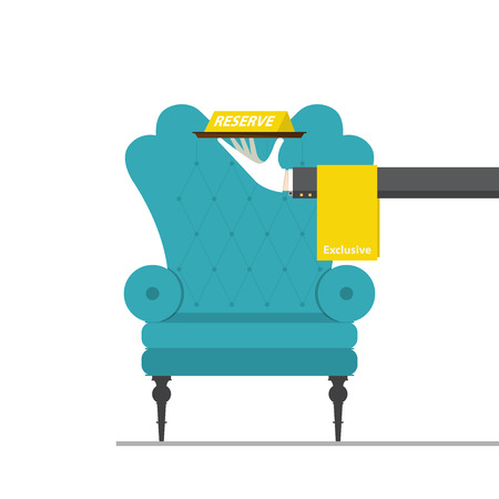 vector chair: Flat design for classic chair with hand holding reserved sign. Vector Illustration. Illustration