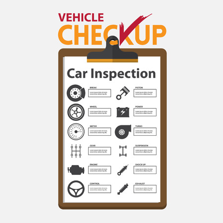 portapapeles: reparación de automóviles en la infografía diseño plano. portapapeles chequeo. Ilustración del vector.