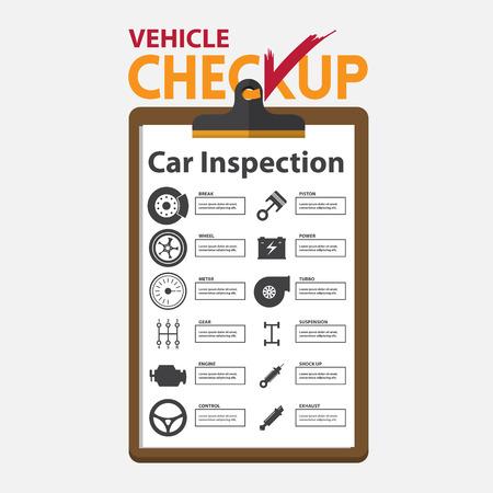 portapapeles: reparaci�n de autom�viles en la infograf�a dise�o plano. portapapeles chequeo. Ilustraci�n del vector.