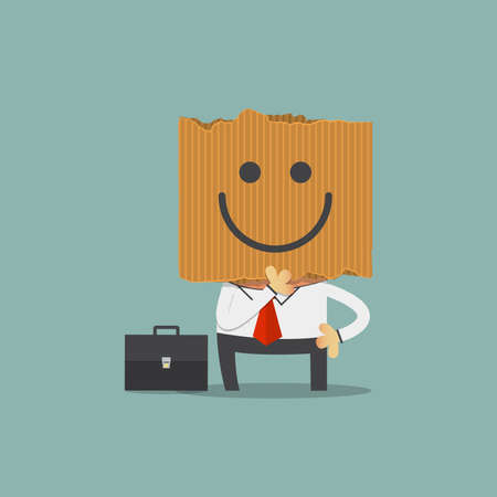 insincere: Businessman hide his real face by holding happiness imoticon cardboard mask. Cartoon character. Vector Illustration Illustration