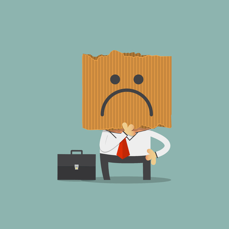 man standing: Businessman hide his real face by holding sadness imoticon cardboard mask. Cartoon character. Vector Illustration