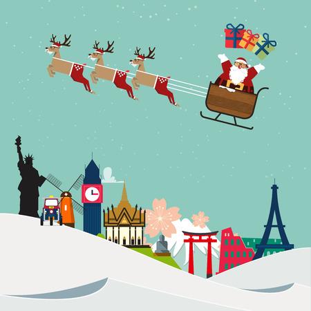 Santa Claus travel around famous world landmark. Vector Illustration