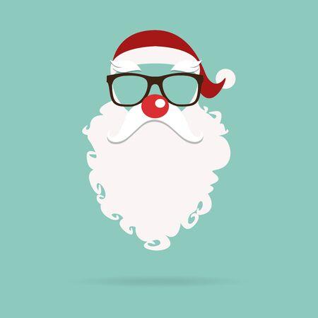 nariz roja: Santa Claus máscara de nariz roja en diseño plano. Ilustración del vector
