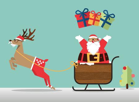 trineo: escena Feliz Navidad con el reno, trineo de Santa Claus y Papá Noel espolvorear el regalo. Ilustración del vector