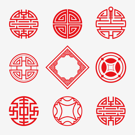 Set of Simply oriental art frame, border, knot  for Chinese new year ornament. Vector Illustration. Çizim