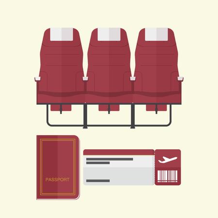 asiento de avión con pasaporte y tarjeta de embarque en el diseño plano. Ilustración del vector