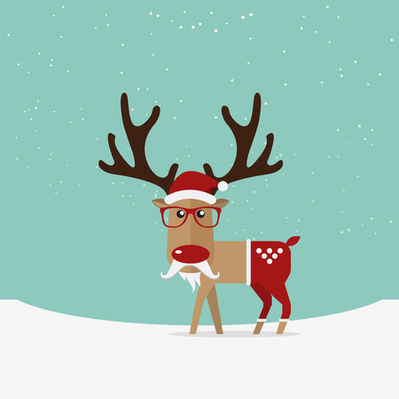 happy new year cartoon: Reindeer red nose cartoon for Christmas ornament.  Vector Illustration Illustration