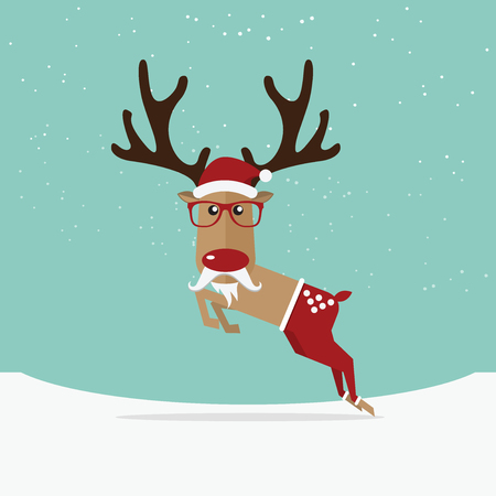 red nose: Reindeer red nose cartoon for Christmas ornament.  Vector Illustration Illustration