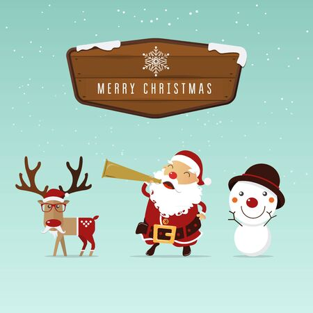 clause: Santa clause, reindeer and snowman with christmas wood border  for christmas ornament.  Vector Illustration