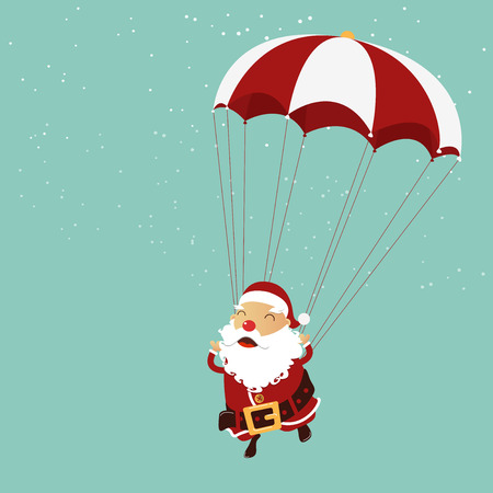 clause: Santa clause is parachuting in the air. Christmas ornament.  Vector Illustration Illustration