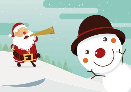 red nose: Snowman red nose and Santa red nose with winter landscape. Christmas decoration.  Illustration. Illustration