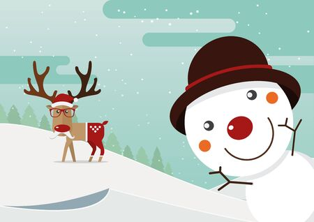 red nose: Snowman red nose and reindeer red nose with winter landscape. Christmas decoration. Illustration.