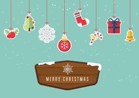 christmas element: Merry Christmas decoration element hanging on sky background. Christmas ornament.  Illustration Illustration