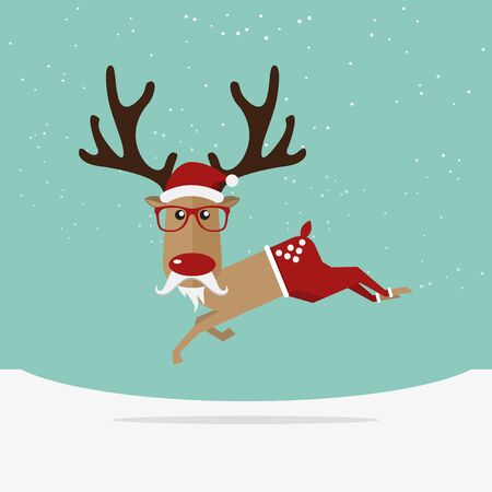 red animal: Reindeer red nose cartoon for Christmas ornament. Illustration Illustration