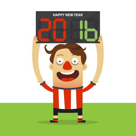 jugador de fútbol feliz celebración de pizarra de sustitución con Feliz Año Nuevo 2016 de masajes. Ilustración Ilustración de vector