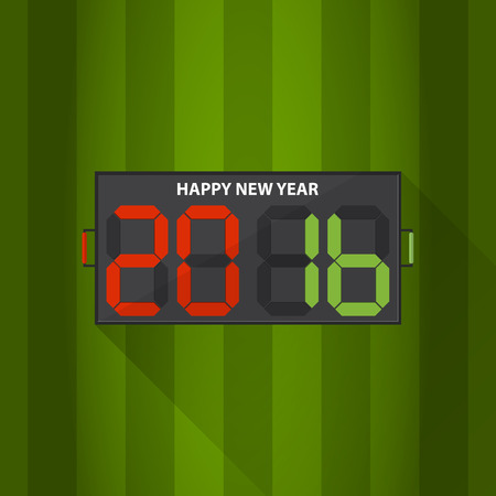 soccer goal: Football substitution board with Happy New Year 2016 massage on football filed background. Illustration Illustration