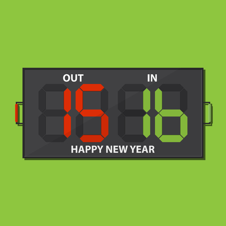 substitution: Football substitution board with Happy New Year 2016 massage on green background. Illustration
