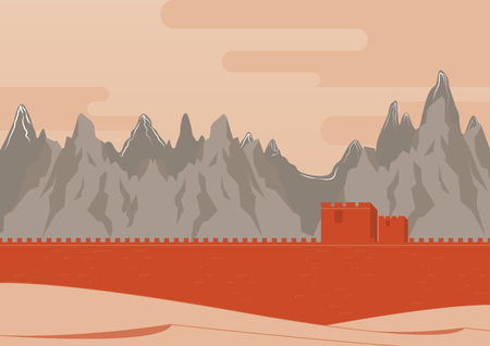 great wall: Great Wall of China Landscape. Background. Vector Illustration