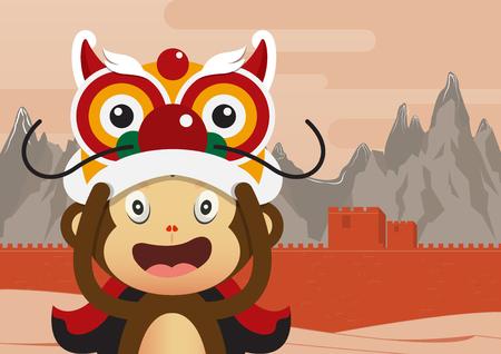 great wall of china: Monkey cartoon character and Great Wall of China Background. 2016 Happy Chinese New Year. Vector Illustration