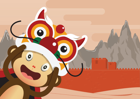 border cartoon: Monkey cartoon character and Great Wall of China Background. 2016 Happy Chinese New Year. Vector Illustration