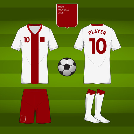 football jersey: Set of soccer or football jersey template for your football club in retro style. Front and back view. Vector Illustration Illustration