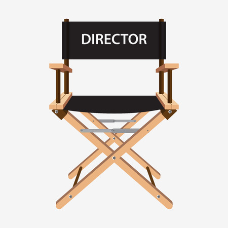 Film director chair. Wooden movie director chair. Vector  illustration isolated on white background. Vettoriali