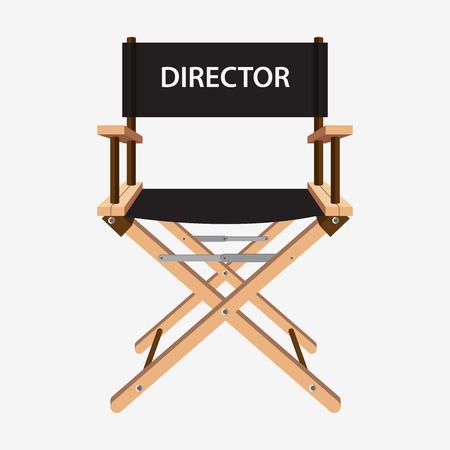 cinta pelicula: Silla de director de cine. Silla de madera director de la película. Ilustración del vector aislado en el fondo blanco.
