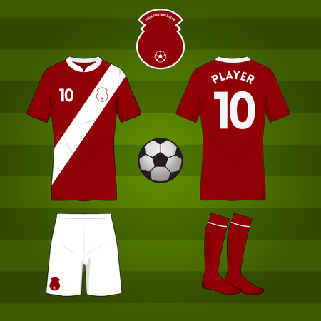 football jersey: Set of soccer or football jersey template for your football club. Front and back view. Vector Illustration Illustration
